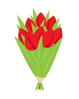 Букет красных тюльпанов, праздничная векторная иллюстрация