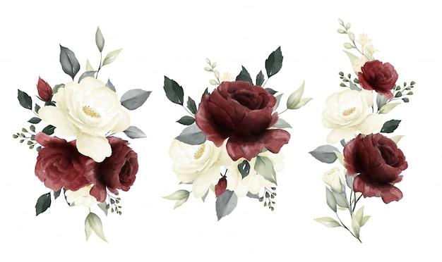 バラの水彩画セットの花束