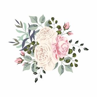 장미 꽃다발, 벡터 수채화 illustrasion