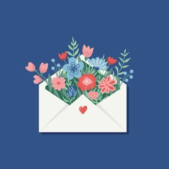봉투에 봄 꽃의 꽃다발입니다. 벡터 인사말 카드입니다.