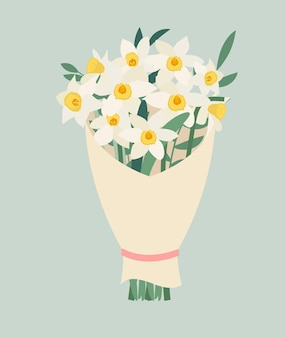 Букет из весенних цветов нарциссов изолированные