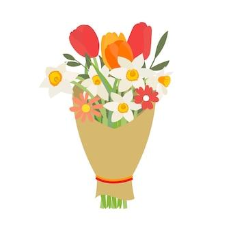 春の花のチューリップと水仙の花束