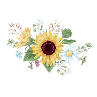 디지털 수채화 스타일의 해바라기와 야생화의 꽃다발