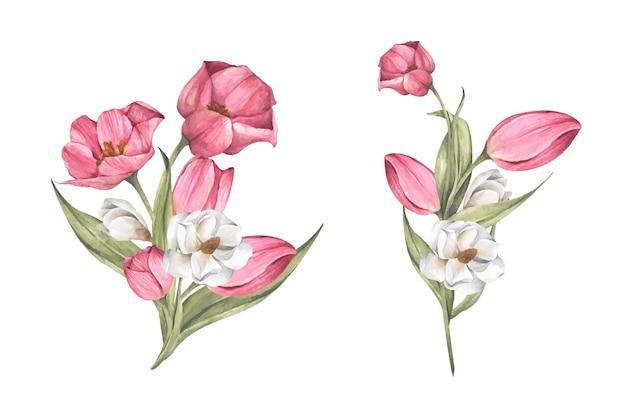 Букет из тюльпанов и магнолии. цветочная композиция. акварельная иллюстрация.