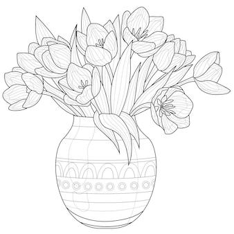 Букет тюльпанов в вазе. цветы. книжка-раскраска антистресс для детей и взрослых. иллюстрация, изолированные на белом фоне. стиль дзен клубок. черно-белый рисунок