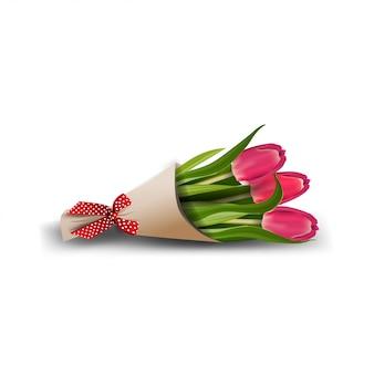 白で隔離されるチューリップの花束