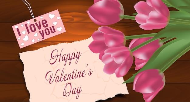 テキスト用の空きスペースがある、木製の背景にチューリップの花束。春の花。バレンタインデーの背景。