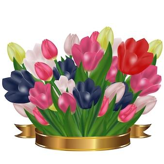 金のリボンが付いているチューリップの花束。お祭りの春の花。休日のシンボル。
