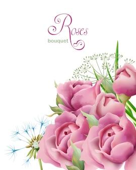 Букет акварельных весенних роз с зелеными листьями и одуванчиком