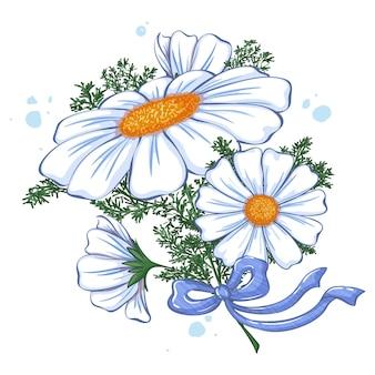 파란 나비로 묶인 흰색 데이지 꽃다발