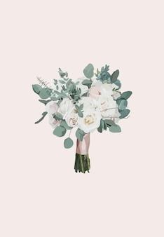 흰 장미 꽃다발입니다. 벡터 일러스트 레이 션