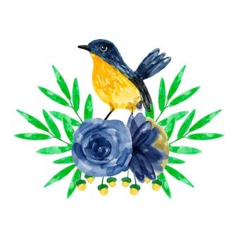 Букет желто-голубых и птиц с акварелью