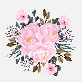 꽃다발 모란 꽃 수채화