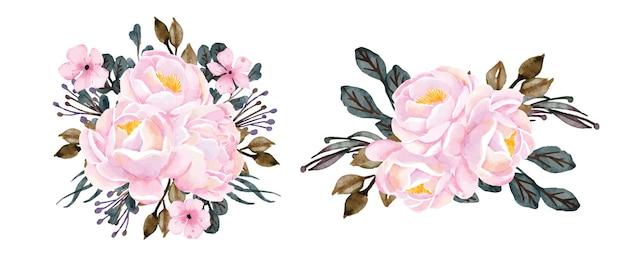 꽃다발 모란 수채화