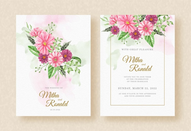 Bouquet pink flowers watercolor with frame on splash wedding invitation background
