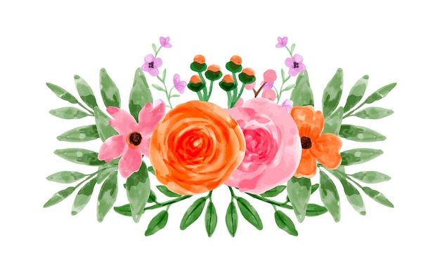 Bouquet of pink orange flowers with watercolor