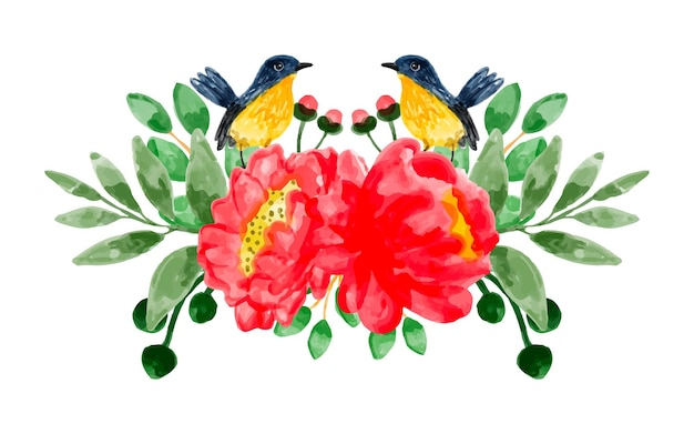 Bouquet of red flowers and birds with watercolor