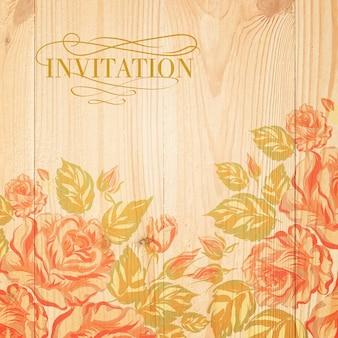 Bouquet rose on wooden board.