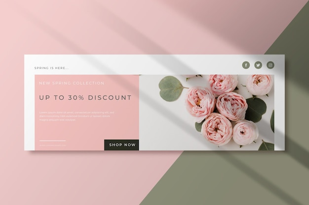 Bouquet of roses spring facebook cover template