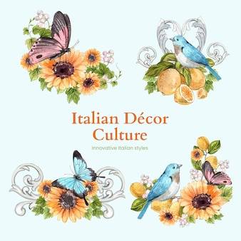Bouquet set with italian style in watercolor style