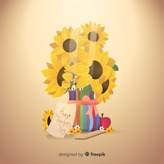 Bouquet of sunflowers in colorful vase