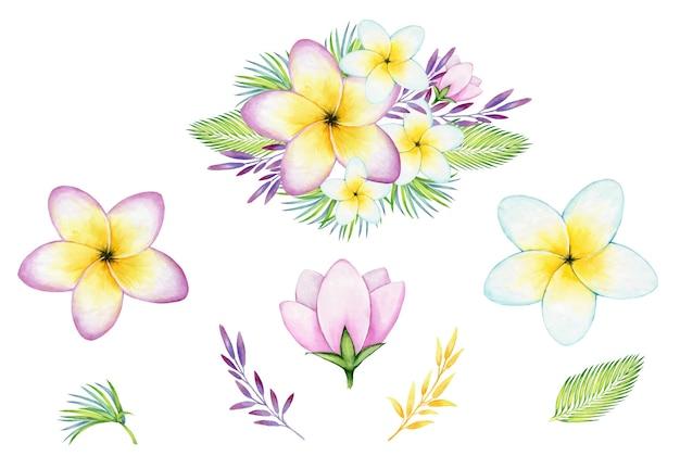 꽃다발, 열대 꽃과 식물, 꽃, 잎. 수채화 세트, 꽃과 잎
