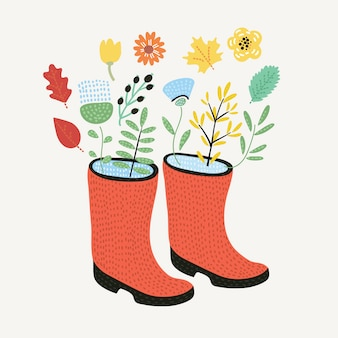 Bouquet of tulips in a beautiful polka dot rubber boots.  illustration. spring flowers.