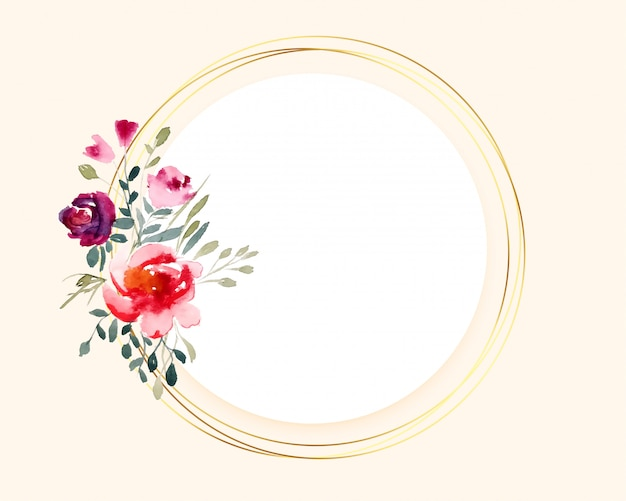 Bouquet watercolor flower on circular golden frame