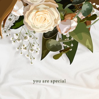 Bouquet su un modello di annuncio instagram con texture di seta bianca
