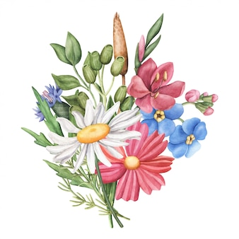 Bouquet of wild summer flowers, round composition