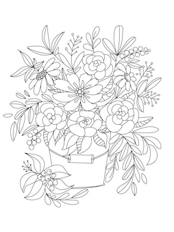 Bouquet of wildflowers in a bucket coloring book page