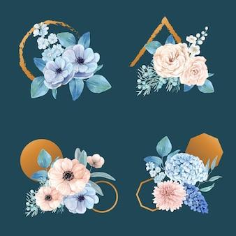 Mazzo con il concetto pacifico del fiore blu, stile dell'acquerello
