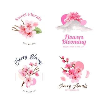 桜のコンセプトデザイン水彩イラストと花束