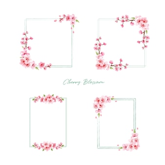 Bouquet with cherry blossom concept design watercolor illustration