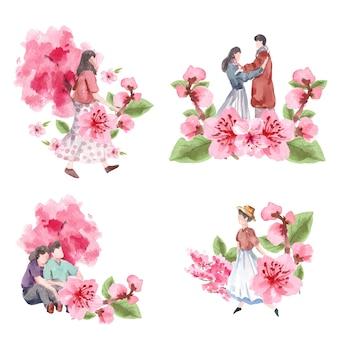 Букет с вишневым цветом концепции дизайна акварель иллюстрации