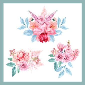 Bouquet with floral charming concept, watercolor vintage floral illustration.