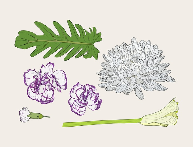 Bouquet with hand drawn spring flowers vector illustration.