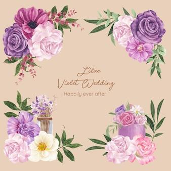 Букет с сиреневой фиолетовой свадебной концепцией, акварельный стиль