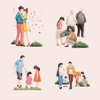 Mazzo con l'illustrazione dell'acquerello di progettazione di concetto di amore di paradiso