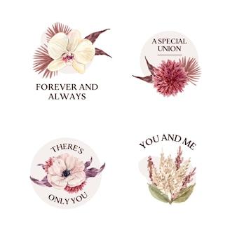 結婚式のコンセプトデザインの水彩イラストと花束