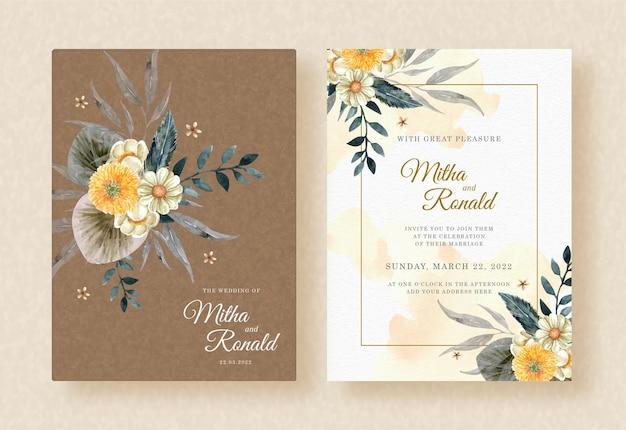 Букет желтых цветов акварель с коричневой рамкой на фоне свадебного приглашения всплеск