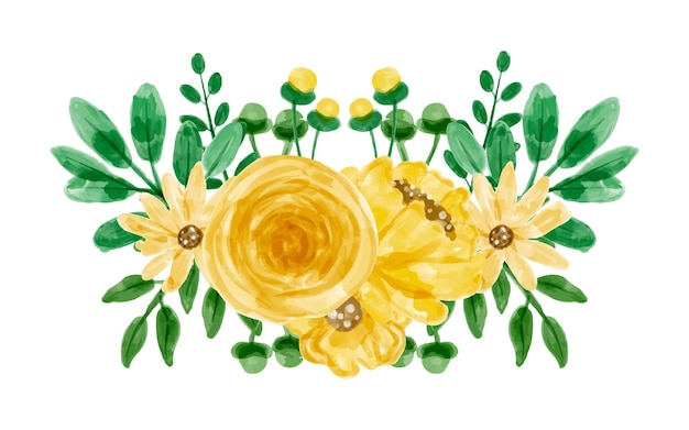 Bouquet of yellow flowers with watercolor