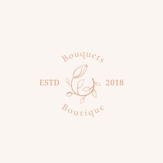 Bouquets boutique vector sign, symbol or logo template.
