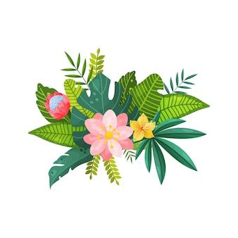 Букеты из тропических цветов и листьев, изолированные на белом фоне
