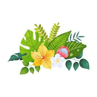 孤立した背景に熱帯の花と葉の花束。ハイビスカス、バナナ、ヤシ、葉。図。