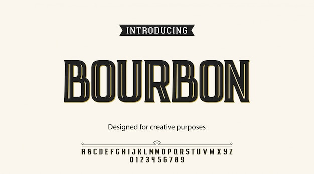 Bourbon typeface. for labels and different type designs