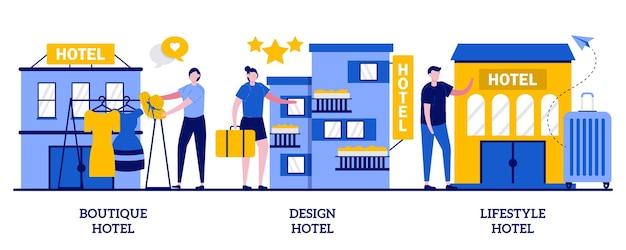 Бутик-отель и дизайн-отель, концепция стильного мотеля с крошечными людьми. праздник и современное жилье абстрактные векторные иллюстрации набор. фешенебельная квартира, метафора роскошного гостеприимства.