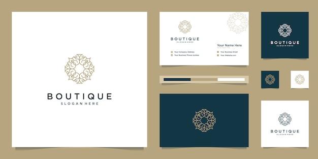 ブティックとエレガントな花のモノグラム、エレガントな名刺ロゴデザインのインスピレーション