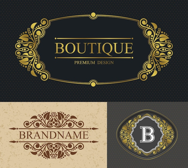 Boutique calligraphic border and letter b template, retro alligraphic template  luxurious border