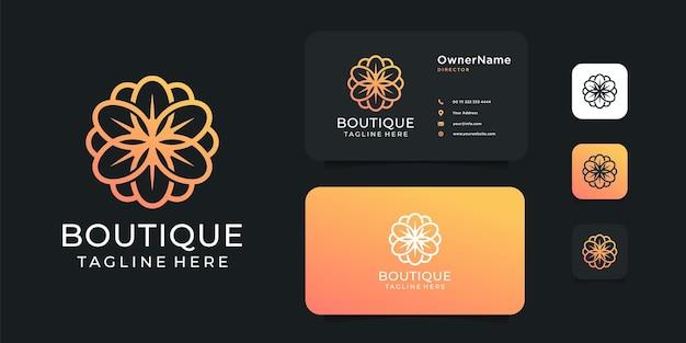 ブティックの花のロゴのデザインと名刺のインスピレーションのテンプレート。